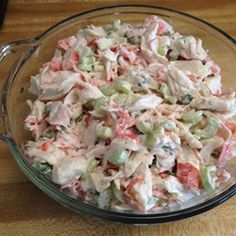 Mel's Crab Salad Allrecipes.com  ***For 2 16oz packages...I used 1/2 cup of Mayo and Sour Cream. I added a squirt of Ranch Dressing, 1 TBSP of sugar and a squirt of half a lemon. I added a little more Mayo if seemed dry. I also used 1 1/2 stalks of celery finely chopped.