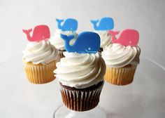 12 Whale Cupcake Toppers (Acrylic)