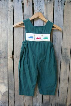 Vintage Green Smocked Car Romper by House of Hatten by vintapod