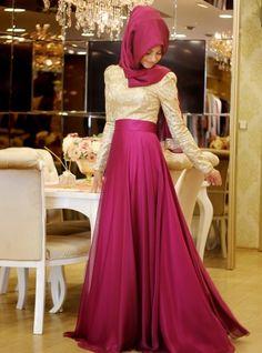 Meyra Evening Dress - Fuchsia - Pinar Sems