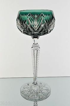 Abp Val St Lambert Baccarat Emerald Green Cut to Clear Crystal Wine Goblet Glass | eBay
