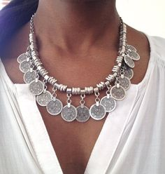 Silver-Coin Necklace-Tribal-necklace-gypsy