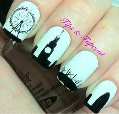 Tips and Topcoat: London Babyyyyy, London sights,  Eye,  Big Been & more ... nail art... great job!
