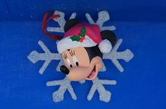 Minnie Mouse Large Snowflake Resin Christmas Ornament Disney Store Retired #DisneyStore #ChristmasOrnaments