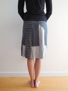 T Shirt jupe / Charcoal Gray / recyclé / Upcycled / l'été par ohzie