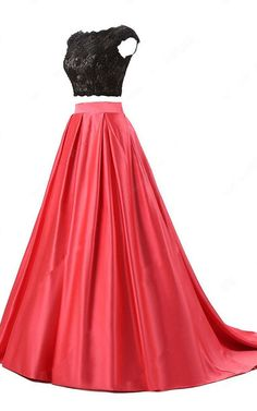 Red Ball Gown Scoop Neck Lace Satin Sweep Train Open Back Two Piece Long Prom Dress