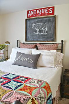 Savvy Southern Style: New Finds with Vintage Appeal in the Guest Room, very bright and busy quilt, lots of neutrals, muted reds to bring out the bright red Home Bedroom, Bedroom Decor, Bedrooms, Architecture Design, Guest Room Decor, Guest Rooms, Savvy Southern Style, Paint Colors For Home, Paint Colours