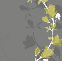 Magnolia Mural (DM209-3) - Mr Perswall Murals - A branch of magnolia blooms – in a cartoon like style with a shadow silhouette.  Available in 4 colourways, shown in the green on light grey brown. Total mural size 2.7m wide x 2.65m high.