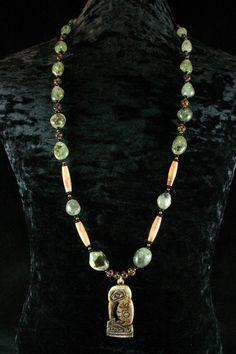 Shaman Necklace - Prehinite - Salish - Native American Jewelry - Kingfisher Pendant - Ancient Jewelry - Beadwork - Statement Necklace. $265.00, via Etsy.