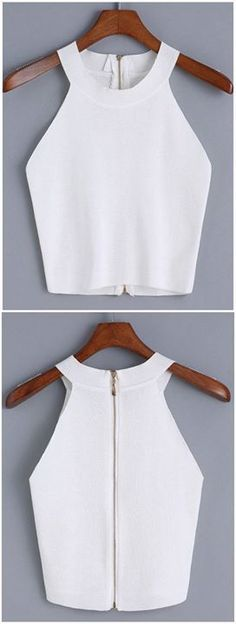 Sewing Tops Blusas Más - Online shopping for Halter Zipper Knit Cami Top from a great selection of women's fashion clothing Diy Fashion, Ideias Fashion, Fashion Outfits, Womens Fashion, Fashion Design, Fashion Trends, Cami Tops, Halter Tops, Summer Outfits