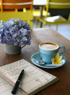 A cappuccino and journal - photography inside the cafe.