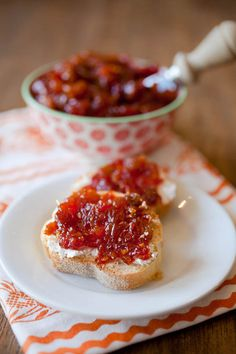 Spicy tomato chutney perfect as a side for meat or as a topping for toasts with a bit of goat cheese.