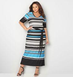 Blue Variegated Stripe Maxi DressBlue Variegated Stripe Maxi Dress,