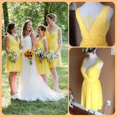 2017 Sexy Short Yellow V Neck Chiffon Bridesmaid Dress , Graduation Dresses 2017,Party Dresses,Short Formal Dresses, Short Prom Dress 2017,
