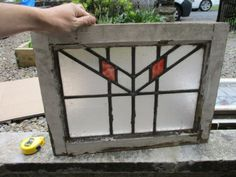 Vintage-Stained-Glass-Window-Panel-Leaded-Glass-Art-Deco-Red-Frosted-Antique-Old
