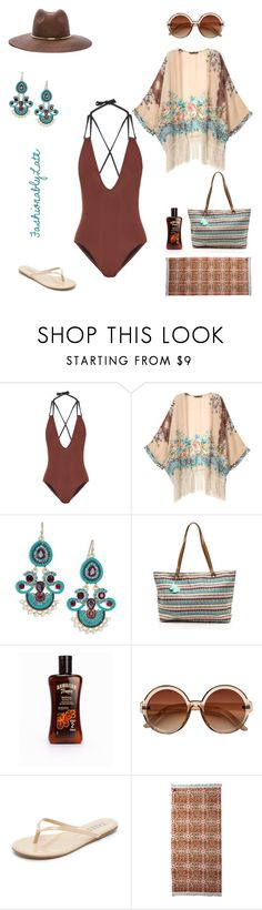 """Boho Beach"" by fashionablylateky ❤ liked on Polyvore featuring Solid & Striped, Kenneth Jay Lane, Hawaiian Tropic, Tkees, Volcom and Janessa Leone"