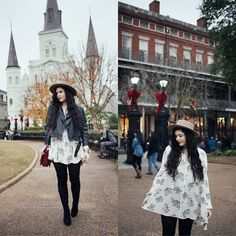 Free People Floral Dress, Free People Thigh High Boots, Free People Camel Hat