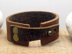FREE SHIPPING Men's leather bracelet Aged black by echoleathers