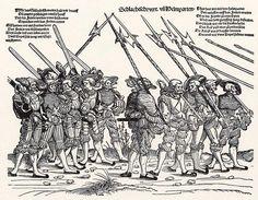 Der Heereszug der Landsknechte. Blatt 6, Schlachtschwert und Helmparten (um 1535)