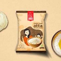 Amna Wheat Flour on Packaging of the World - Creative Package Design Gallery Packaging Snack, Organic Packaging, Innovative Packaging, Pouch Packaging, Cool Packaging, Food Packaging Design, Packaging Design Inspiration, Packaging Ideas, Logo Inspiration