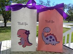 Small Girl Dinosaur Birthday Party Treat or by ThePirdieBirdie, $24.00