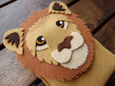 Lion Phone Case - Cell Phone Case - iPhone Case - Handmade brown felt case
