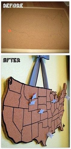 "Great Geography Idea! ""Where I've Been"" Corkboard Map - Would love to do something like this with the whole world."