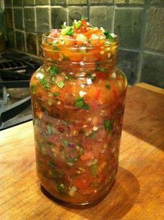 Easy salsa recipe.....WOW, this one has an amazing flavor!  6 tomatoes 3 jalapenos (warning: hot) 1 medium white onion 1/2 med. red onion 1 cup cilantro 5 cloves garlic 3 limes juice (hell, I even threw in some of the pulp) 1 tbsp cumin 1 tsp sea salt (More can always be added but not taken away!) 1 tsp chili powder OPTIONAL/SEASONAL: Sweeten it up with some diced fruit of your choice- pineapple, mango, peach etc.