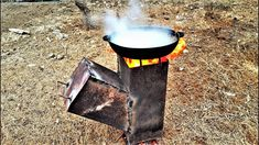 How to make a wood gas stove - large portable woodgas piec rakietowy na pellet pellet rocket stove building wood burning rocket stove portable simple disign camping cooking Make A Fire Pit, How To Make Fire, Firewood Processor, Fire Pit Cooking, Japanese Chef, Old Fan, Rocket Stoves, Camping Stove, Homemade