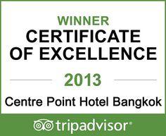 "TripAdvisor Honours Centre Point Hotel Bangkok, Thailand ""Certificate of Excellence 201"