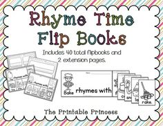 Rhyming word flip books! Great way to teach rhyming words and word families. 40 different books included.