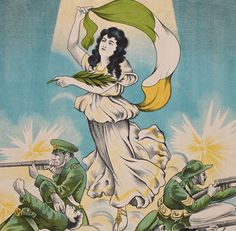 The birth of the Irish Republic, 1916 - Lithographic print depicting a female representation of Ireland, in classical dress, holding an Irish tri-colour flag and an olive branch; she is floating above armed soldiers, grouped behind sandbags, who wear Irish Volunteer uniforms and who are engaged in battle. Photo: National Library of Ireland, PD C56 Insurgent, Flag, Symbols, History, Soldiers, Birth, Ireland, Battle, Military