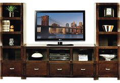 picture of Eldon Square Merlot 3 Pc Wall Unit from Wall Units Furniture
