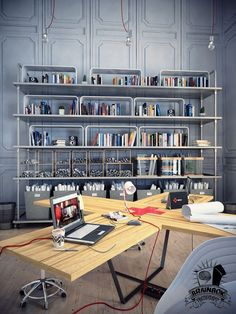 Modern Home Office with Quirky Desk and Industrial Shelving
