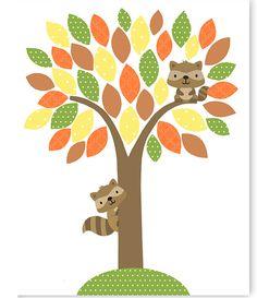 Raccoon Woodland Nursery Decor Gender by SweetPeaNurseryArt