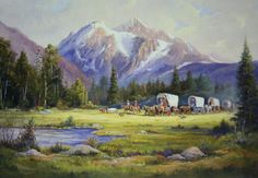 """""""Westward Journey"""" - art by Marianne Caroselli Mormon Pioneers, Lds Scriptures, Lds Art, Doctrine And Covenants, Covered Wagon, Oregon Trail, Cowboy Art, Western Art, Old West"""