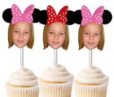 Minnie Mouse Inspired Photo Cupcake Toppers, Cake Centerpiece, Party Decoration. These cute photo cupcake toppers are the perfect addition to your party theme! They come in a set of 12 and you can choose up to 3 colors for the hat! Please send us a photo after checkout. ** the picture should be a minimum of 300dpi and ideally a close up shot of just your child's face. To send you a photo, please click on the link: Contact me with general inquiries. Once in the messenger please click on…