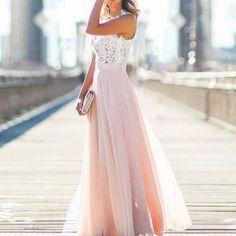 Vestido maxi elegante sem mangas decote redondo com lace conjunto