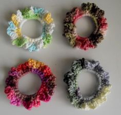 Crochet Hair Scrunchies Variegated Colors Set of by MyMimisCellar, $7.00