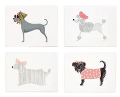 Assorted Girlie Dog set of cards designed by Anna Bond for Rifle Paper Co.