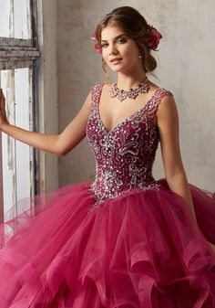 Jeweled Beading on a Flounced Tulle Ballgown | Vizcaya Style 89131 | Stunning Tulle Quinceañera Ballgown Combines an Exquisitly Beaded V Neck Bodice with a Dreamy Flounced Skirt. Keyhole Corset Back. Matching Stole Included