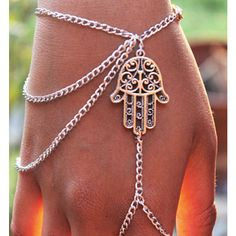 Hamsa Pendant Drape Hand Chain ($9.99) ❤ liked on Polyvore featuring jewelry, bracelets, silver, silver pendant, clasp charms, silver charms jewelry, silver jewelry and silver charms