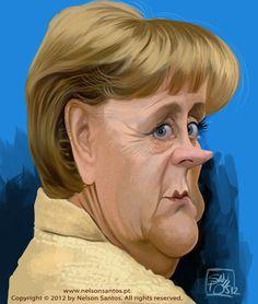 Angela Merkel by Nelson Santos Funny Cartoon Faces, Funny Cartoons, Cartoon Art, Funny Caricatures, Celebrity Caricatures, Mixed People, Pop Art Illustration, Arnold Schwarzenegger, Famous Cartoons