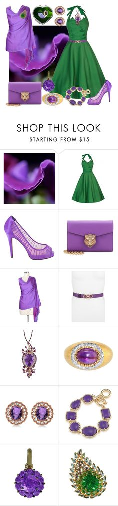 """""""Swans And Petals"""" by yournightnurse ❤ liked on Polyvore featuring Christian Louboutin, NOVICA, Salvatore Ferragamo, LE VIAN, Mario Buccellati, Allurez, 1st & Gorgeous by Carolee, Color My Life and Schreiner"""