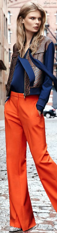 Diane von Furstenberg Pre Fall 2016 Date:  June 16, 2016  Notation:  Complementary colors are always fun especially orange and blue they are refreshing together, as shown in photography.