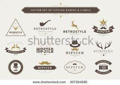 Set of vintage  hipster badges and labels
