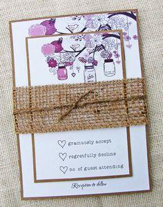 Purple Mason Jar Rustic Burlap belly Band Shabby Chic Country Chic Wedding Invitation  Cassie look how cute!!!