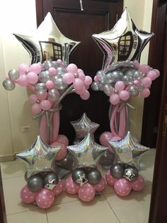 #balloon #column #shiny #star #pink and #silver