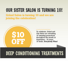 Give your hair a special treat... Book a deep conditioning appointment this month at City Salon and save $10 thanks to our sister salon Gränd Salon's 10th anniversary 10-10 wins promotion! #tentenwins #grandsalon #citysalon #salon #deepconditioning #conditioning #promotion #salon