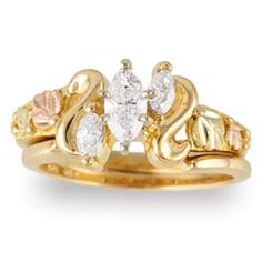 Black Hills Gold Diamond Wedding Set